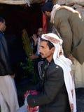 Drugs dealers. SANAA,YEMEN - MARCH 14: Unidentified dealers of Khat (Catha Edulis) shown in Sanaa, capital of Yemen. Khat contains an amphetamine alkaloid Stock Images