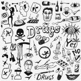 Drugs doodles set Royalty Free Stock Photos