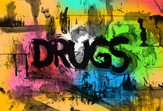 Drugs. Drug abuse and intoxication - negative grungy text with bright psychedelic colors in the background. Hallucinogenic experience after consumption of dose Royalty Free Stock Photo