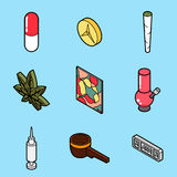 Drugs flat outline isometric icons Royalty Free Stock Photo