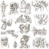 Drugs - full sized hand drawn illustrations Royalty Free Stock Images