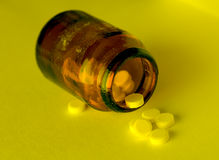 Drugs in a glass bottle Stock Photos