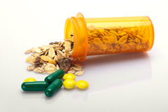 Drugs with healthy oatmeal Royalty Free Stock Image