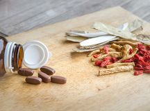 Drugs or herbs. Use drugs or chinese herbs Royalty Free Stock Photos