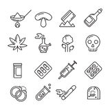 Drugs, heroin, alcohol, smoking addiction thin line vector icons Royalty Free Stock Photography