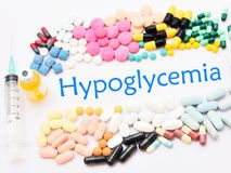 Drugs for hypoglycemia treatment. Many drugs for hypoglycemia treatment, medical concept stock image