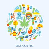 Drugs icons flat Stock Image