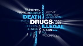 Drugs illegal death narcotic overdose injection addiction problems heroin cocaine treatment animated word cloud. Background in uhd 4k 3840 2160 stock illustration