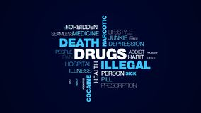 Drugs illegal death narcotic overdose injection addiction problems heroin cocaine treatment animated word cloud. Background in uhd 4k 3840 2160 royalty free illustration