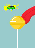Drugs lollipop. Acid candy on a stick. Narcotic sweetness. Tongu Royalty Free Stock Image