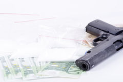 Drugs,money,cocaine and gun Stock Photos