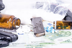 Drugs,money,cocaine and gun Royalty Free Stock Photo