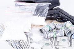 Drugs,money,cocaine and gun Royalty Free Stock Photography