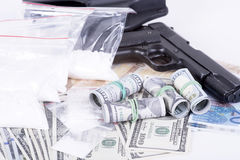 Drugs,money,cocaine and gun Stock Photo