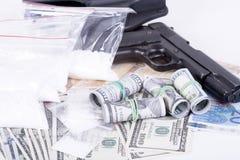 Drugs,money,cocaine and gun Stock Photo