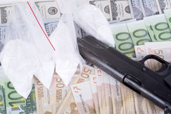 Drugs,money,cocaine and gun Stock Photography