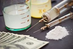 Drugs and money Stock Images