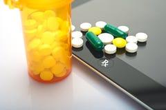 Drugs online. Online prescription concept with medicine on ipad Stock Photos