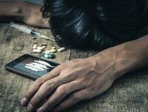 Drugs op de oude houten achtergrond Royalty-vrije Stock Afbeelding