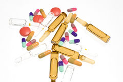 Drugs over white background Royalty Free Stock Photo