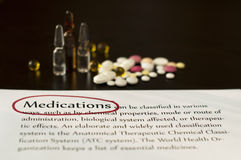 Drugs and paper with text medications Royalty Free Stock Photography