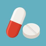 Drugs and Pills on blue background. Medical pill, Tablet symbol. Vector Illustration Stock Image
