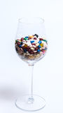 Drugs and pills. Loads of drugs in a wine glass Stock Photos