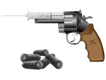 Drugs and revolver. Drugs,syringe and revolver on a white background Royalty Free Stock Photo