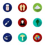 Drugs set icons in flat style. Big collection of drugs vector symbol stock illustration Stock Photography