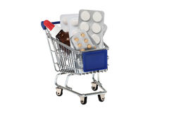 Drugs in the shopping cart Stock Photos