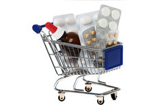 Drugs in the shopping cart Stock Images