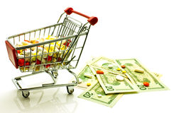 Drugs in the shopping cart Royalty Free Stock Photography