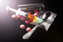 Drugs with Spoon Stock Image