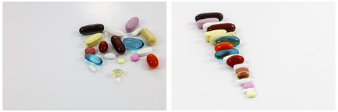 Drugs supplements pill pile background Stock Photos