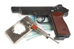 Drugs, syrine with blood, pistol and money. Drugs, syrine with blood, pistol, money isolated Royalty Free Stock Photo