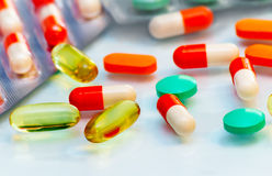 Drugs: tablets and capsules. Stock Image