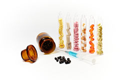 Drugs, test tubes and injection Stock Photography