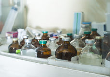 Drugs and vaccines in showcase Stock Photography
