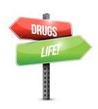 Drugs versus life road sign illustration design Stock Photography