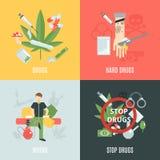 Drugs vlakke reeks Royalty-vrije Stock Afbeelding