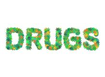 DRUGS word isolated on the white background made from cannabis leaves stock illustration
