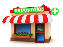 Drugstore building. Pharmacy building with a green cross sign on white background stock illustration