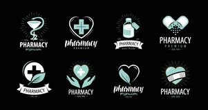 Drugstore, pharmacy set of logos or labels. Medicine, health, hospital symbol. Vector illustration royalty free illustration
