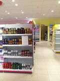 Drugstore shelves. Shelves with drugstore products at store Stock Photo
