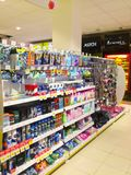 Drugstore shelves. Shelves with drugstore products at store Royalty Free Stock Photo