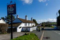 The Druid Inn country pub in Gorsedd. Gorsedd, UK - Mar 25, 2019: The Druid Inn, Gorsedd is a typical, quaint, rural country pub which is part of the local royalty free stock photography
