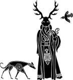 Druid med den rituella maskeringen, vargen och en fågel Royaltyfria Bilder