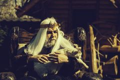 Old druid sits in chair royalty free stock photo
