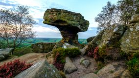 The Druid`s Writing Desk at Brimham Rocks stock images