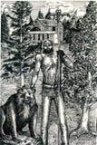 Druida con el oso en bosque Fotografía de archivo libre de regalías